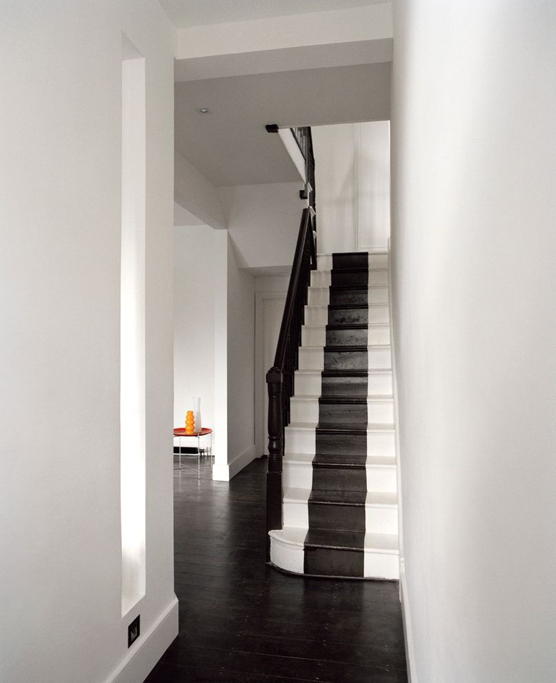 How to Move Heavy Furniture Up Stairs   Contemporary Staircase Also Black and White Black Banister Entry Painted Stairs Striped Stairs