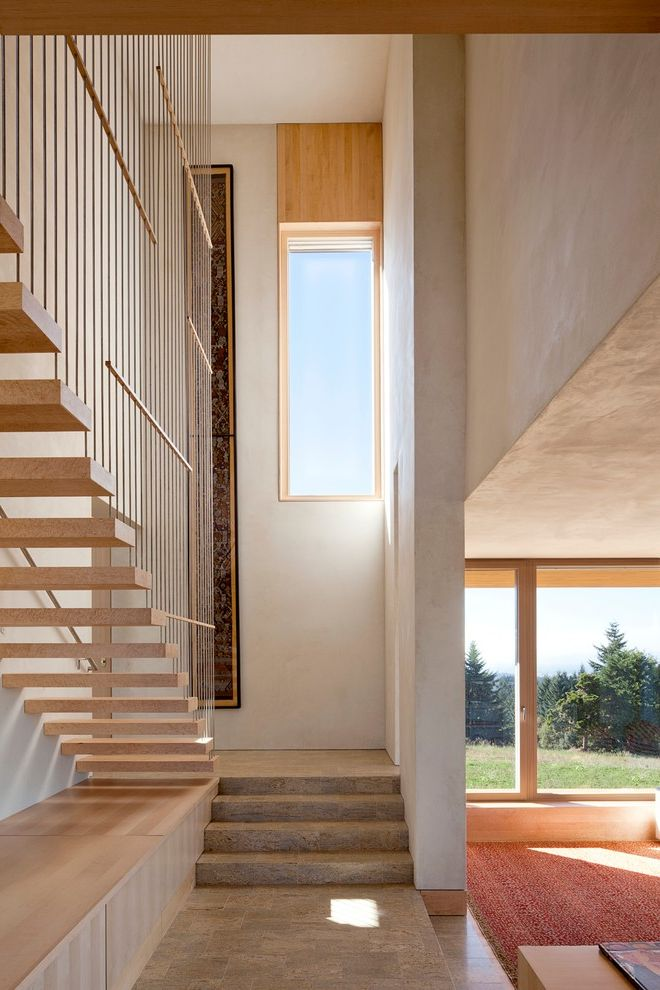 How to Move Heavy Furniture Up Stairs   Contemporary Staircase  and Cantilevered Stairs Contemporary Design Light Wood Stairs Light Wood Tread Modern Design Modern Staircase Modern Stairs Narrow Window Stair Window Straight Run