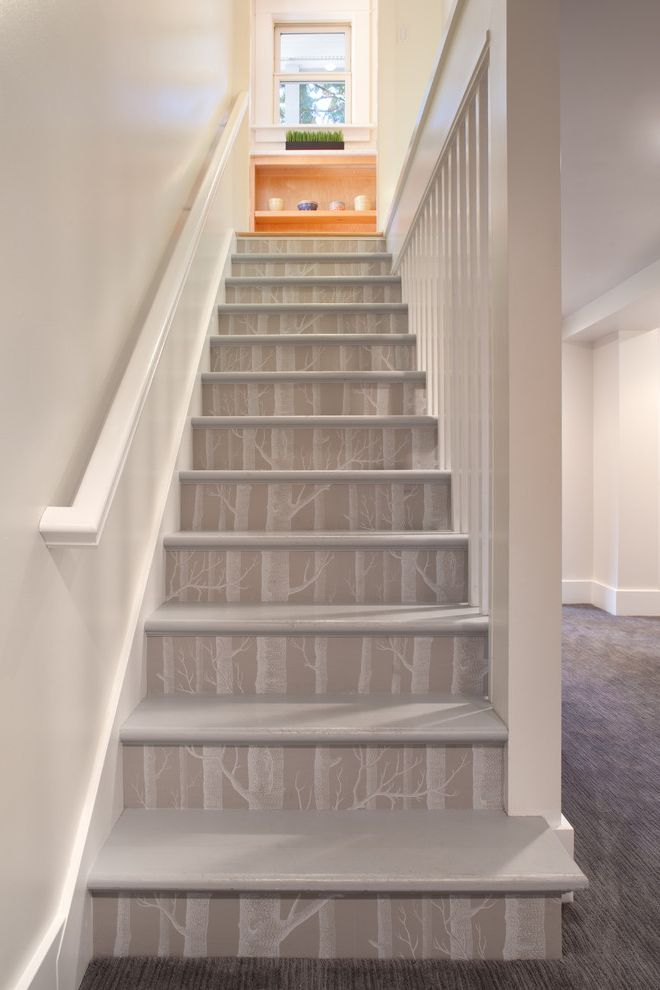 How to Move Heavy Furniture Up Stairs   Eclectic Staircase  and Baseboards Decorative Risers Neutral Colors Tree Wallpaper Wallpaper Accent Wooden Staircase