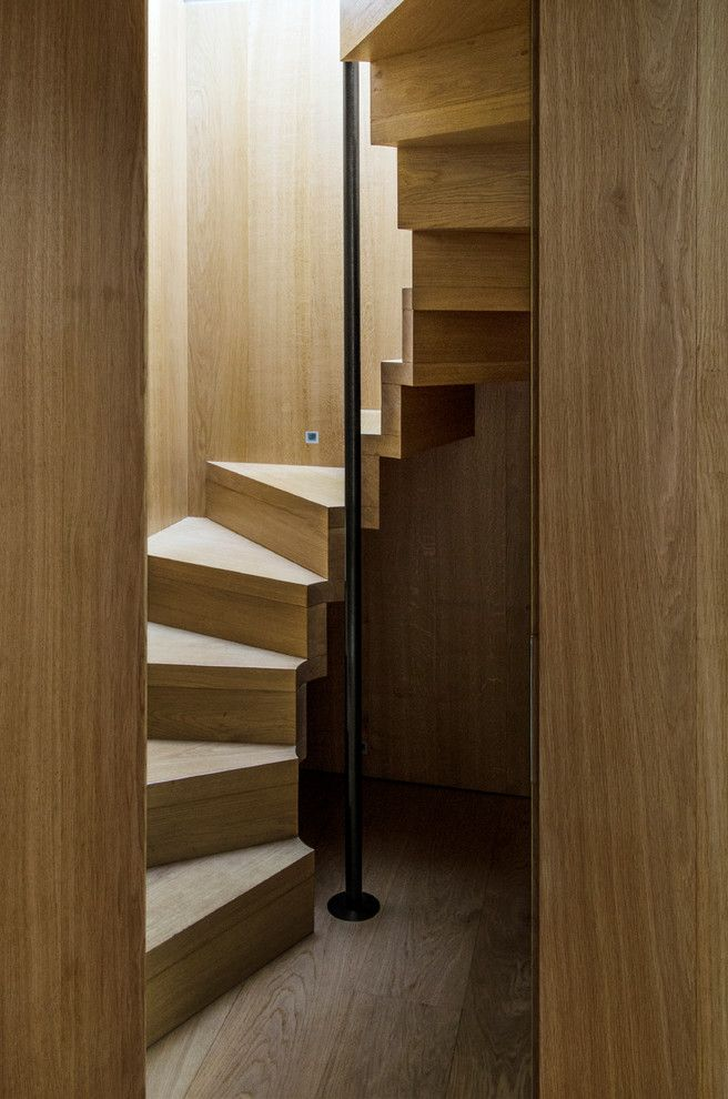 How to Move Heavy Furniture Up Stairs with Contemporary Staircase  and All Wood Cotswolds Eco New Build House Sleek Staircase Standing Pole Sustainable Timber Clad