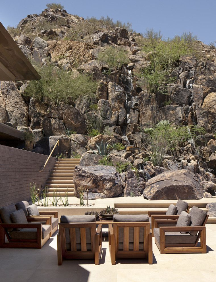 How to Move Heavy Furniture Up Stairs with Southwestern Patio Also Agave Backyard Boulders Desert Modern Mountain Outdoor Cushions Outdoor Stairs Patio Furniture Rocks Southwest Succulents Wood Patio Furniture