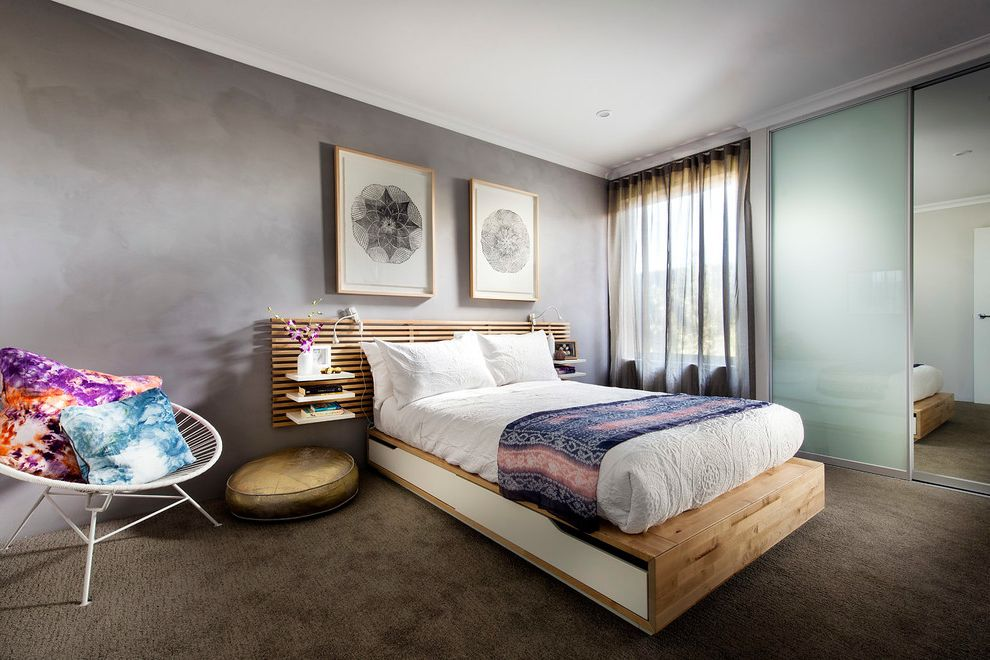 How Wide is a Full Bed with Contemporary Bedroom  and Chair Dale Alcock Dale Alcock Botanica Dale Alcock Homes Frosted Glass Closet Door Herron Park Perth Builders Perth Display Homes Perth Project Builder Platform Bed Sheer Curtain Wall Art