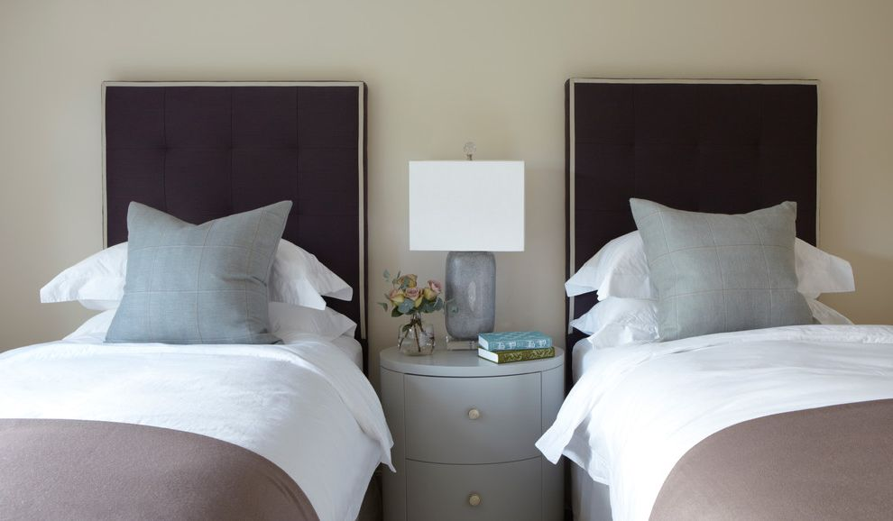 How Wide is a Full Bed with Farmhouse Bedroom  and Country Country Home England Gray Nightstand Gray Pillows Guest Room Hampshire Neutral Color Scheme Spare Room Symmetry Table Lamp Twin Bedroom Twin Beds White Bedding