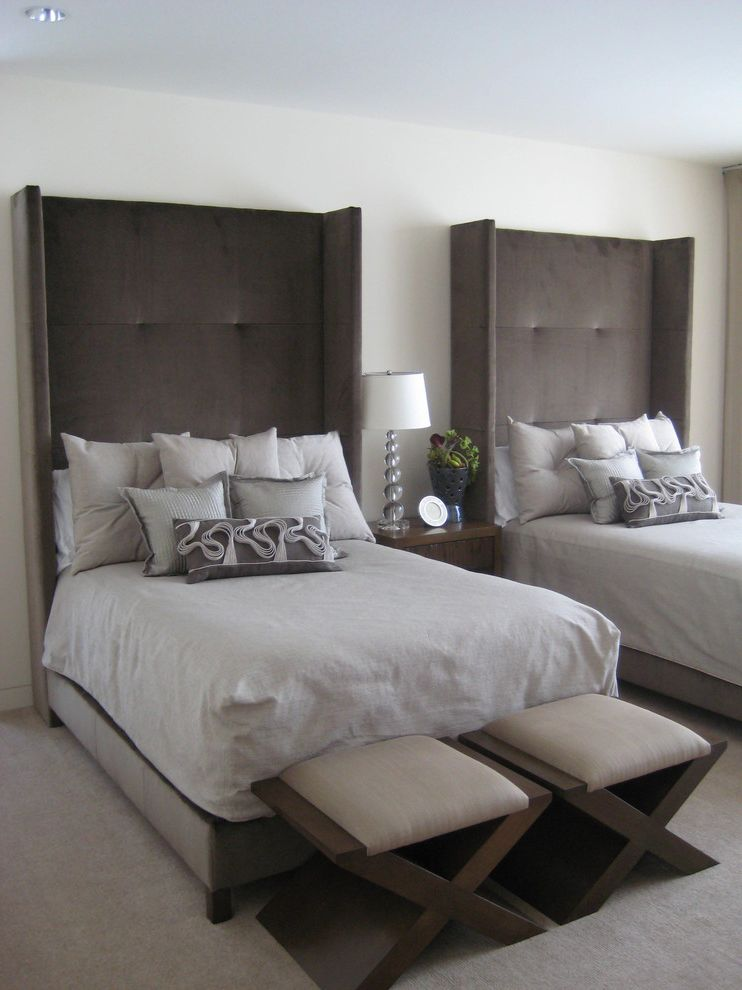 How Wide is a Full Bed with Transitional Bedroom Also Bed Carpet Elegant Grey Grey Carpet Grey Headboard Headboard Nightstand Seats Sophisticated Stool Table Lamp Upholstered Headboard