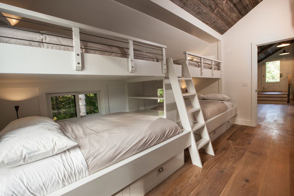 How Wide is a Full Bed with Transitional Kids  and Barn Built in Beds Bunk Beds Bunk Room Kids Bedroom Nana Wall Neutral Colors Pool House Shared Bedroom Timber Frame Under Bed Storage Window Wall Wood Floors