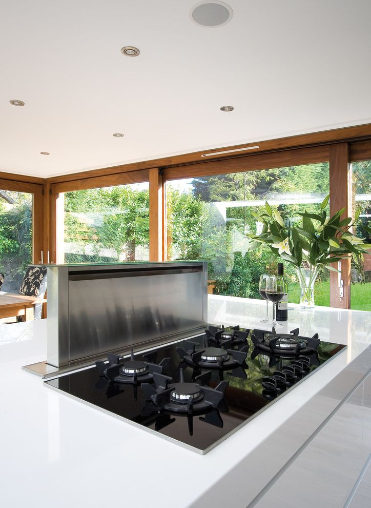 Jenn Air Gas Cooktop with Downdraft with Contemporary Kitchen  and Indoor Outdoor Kitchen Island Large Windows Modern Range White Counter White Kitchen