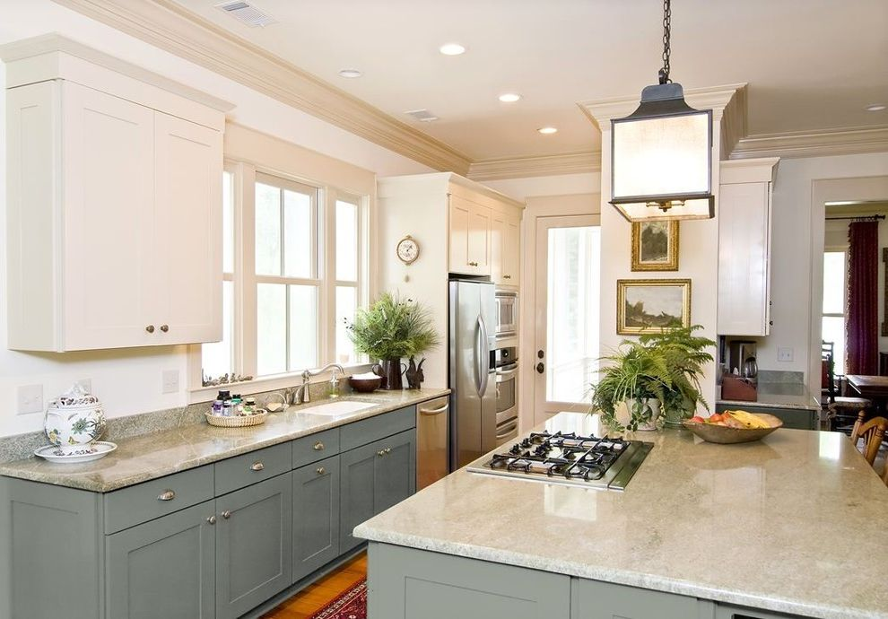 Jenn Air Gas Cooktop with Downdraft with Traditional Kitchen Also Blue Gray Blue Kitchen Cabinets Island Kitchen Island White Cabinetry White Cabinets White Kitchen White Kitchen Cabinets