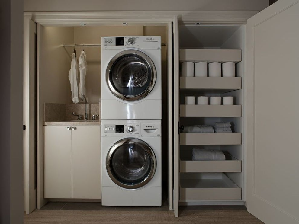 Laundry Closet Dimensions   Contemporary Laundry Room  and Beige Perimeter Countertop Laundry in Closet Pull Out Drawers Storage Warm Neutral Colors