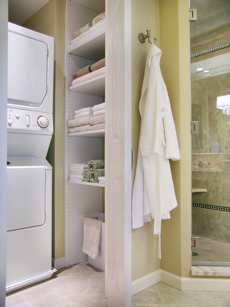 Laundry Closet Dimensions   Traditional Bathroom Also Beige Closet Glass Shower Door Linen Cupboard Robe Hook Shower Enclosure Stackable Washer Dryer Tile Floor