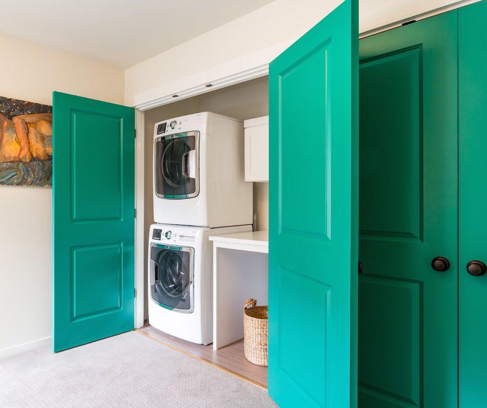 Laundry Closet Dimensions   Transitional Laundry Room Also Closet Door Closet Laundry Creative Custom Made Gray Carpet Hidden Laundry Laundry Closet Teal Doors