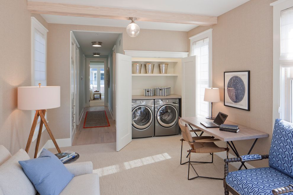 Laundry Closet Dimensions with Beach Style Laundry Room  and Blue Chairs Built in Laundry Computer Room Desk Floor Lamp Hall Runner Laundry Room Office Sofa Tripod Lamp Washer Dryer Wood Beams
