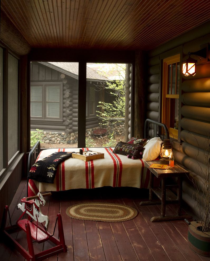 Log Cabin Builders in Texas   Rustic Porch  and Bed Pillows Bedroom Cabin Camp Blanket Cottage Deck Log Cabin Metal Bed Rustic Screen Porch Sleeping Porch Wood Ceiling