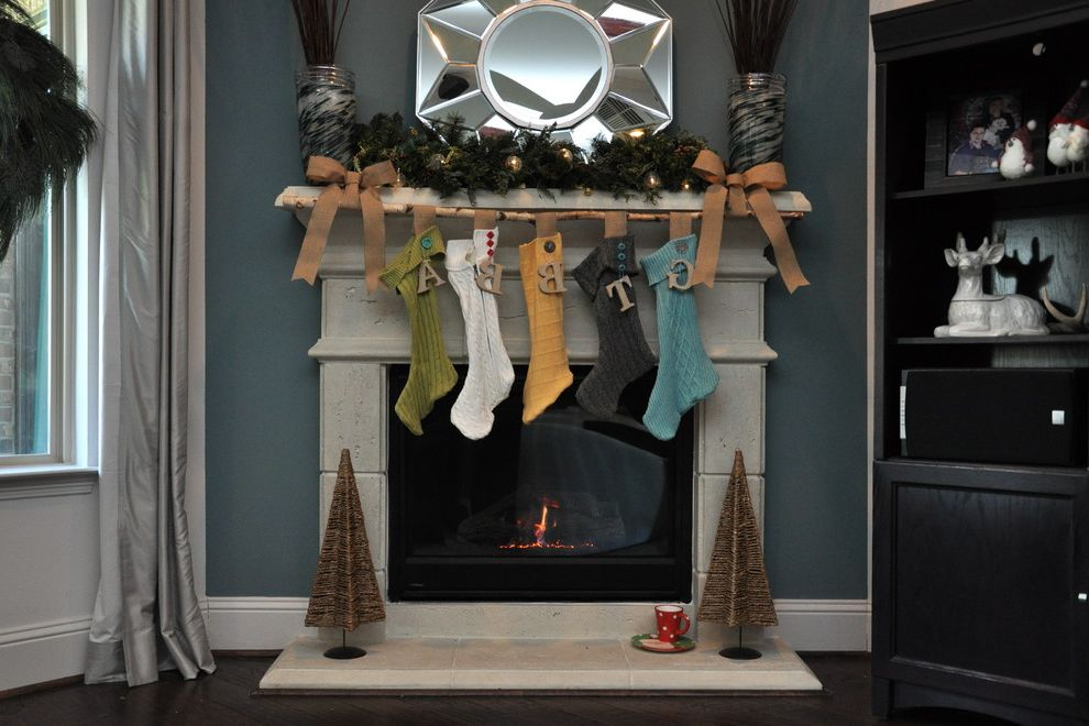 Ne Qwa Christmas Ornaments   Eclectic Living Room  and Antique Ribbon Ash Branch Burlap Ribbon Buttons Cast Stone Fireplace Hearth Knit Letters Mantle Mirror Modern Reclaimed Reused Smokey Blue Accent Wall Stocking Sweater Symetrical