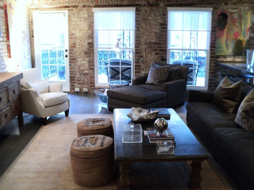 New Orleans Millworks with Industrial Living Room Also Brick Downtown Renovation French Quarter George Lemaire Gray and White Loft New Orleans New Orleans Renovation New Orleans Warehouse New Orleans Warehouse District Warehouse District