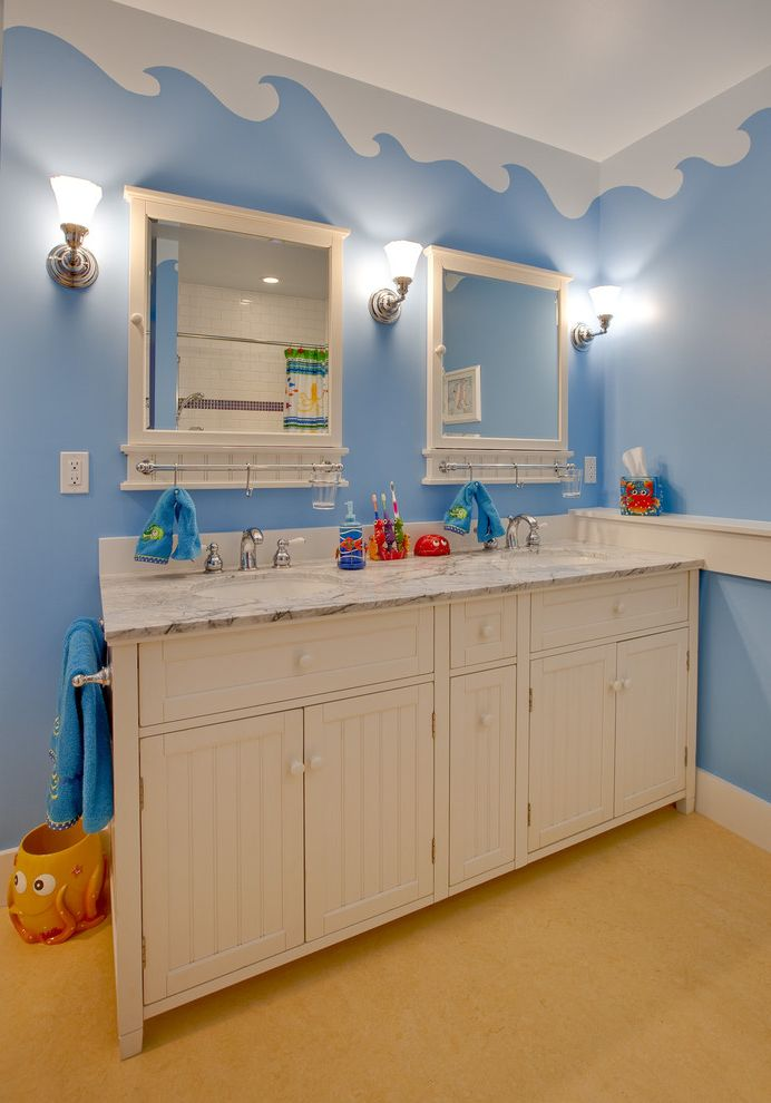 Pottery Barn Kids Park Meadows   Traditional Bathroom  and Bath Accessories Bathroom Bathroom Mirror Beadboard Blue Walls Double Vanity Kids Bathroom Marble Countertops Sconce Wainscoting Wall Lighting Wall Mural Double Sinks Waves