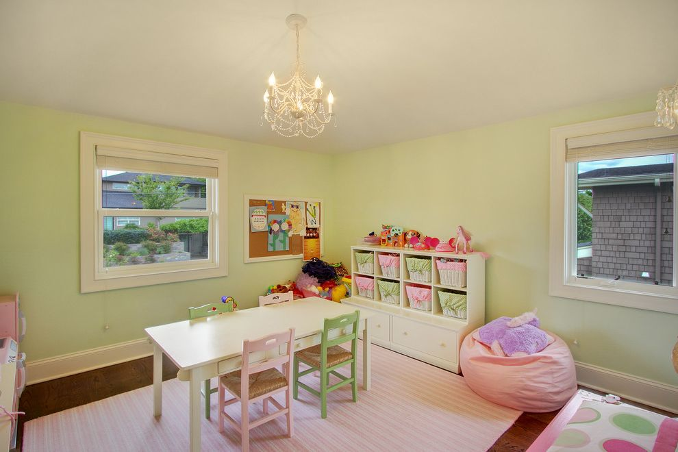 Pottery Barn Kids Park Meadows   Traditional Kids  and Area Rug Baskets Chandelier Corkboard Cubbies Girls Room Green Play Table Pink Beanbag Chair Pink Stripe Play Kitchen Toy Storage Toys Wood Floors
