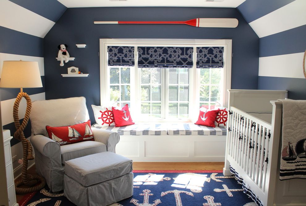 Pottery Barn Kids Park Meadows with Beach Style Nursery Also Anchors Armchair Boat Oar Nautical Nautical Theme Nursery Oars Rope Rope Floor Lamp Sailboats Stripes Wainscoting White Crib White Shelves Window Seat