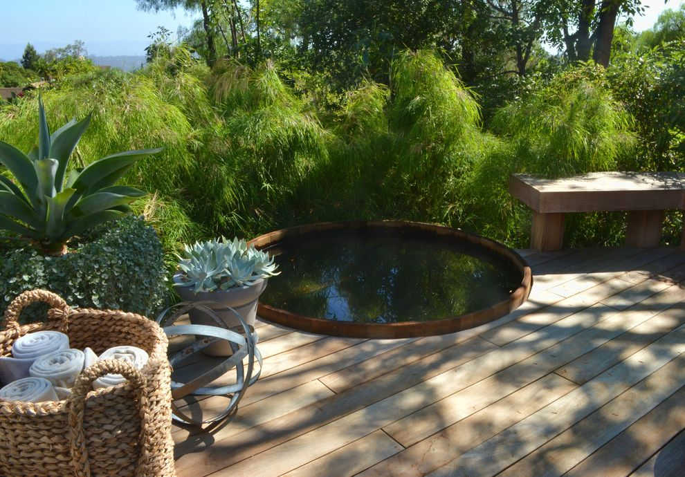 Round Wood Hot Tub   Modern Landscape  and Built in Hot Tub Hot Tub Outdoor Potted Plants Plants Privacy Spa Towel Basket Towel Storage Wicker Basket Wood Bench Wood Deck Wood Hot Tub