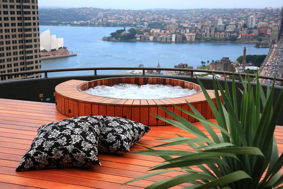 Round Wood Hot Tub with Contemporary Pool  and Coastal Deck Hot Tub Jacuzzi Outdoor Cushions Roof Terrace Spa View Waterfront