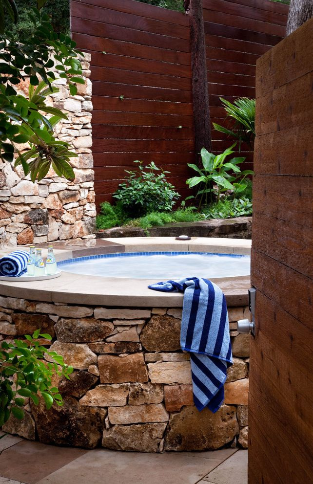 Round Wood Hot Tub with Modern Landscape Also Blue Mosaic Hot Tub Concrete Hot Tub Frame Concrete Patio Elegant Modern Patio Private Retreat Spa Stone Stone Hot Tub Stone Wall Stonework Wood Slab Wood Slab Wall