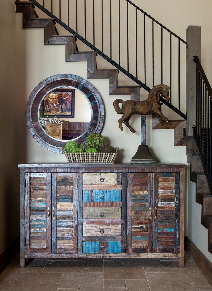 Rustic Furniture Denton Tx with Rustic Entry  and Console Table Distressed Wood Framed Round Mirror Horse Sculpture Rustic Furniture Staircase
