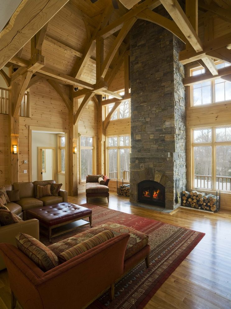 Rustic Furniture Denton Tx with Rustic Living Room Also Beams Cabin Leather Ottoman Rustic Sectional Sofa Stone Fireplace Timber Wood Ceiling