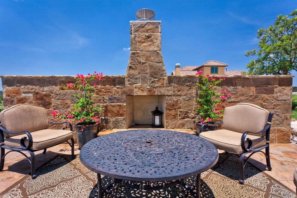 Rustic Furniture Denton Tx with Rustic Patio  and Bougainvillea Container Plants Outdoor Fireplace Patio Furniture Potted Plants Rustic Stone Wall Wrought Iron Furniture