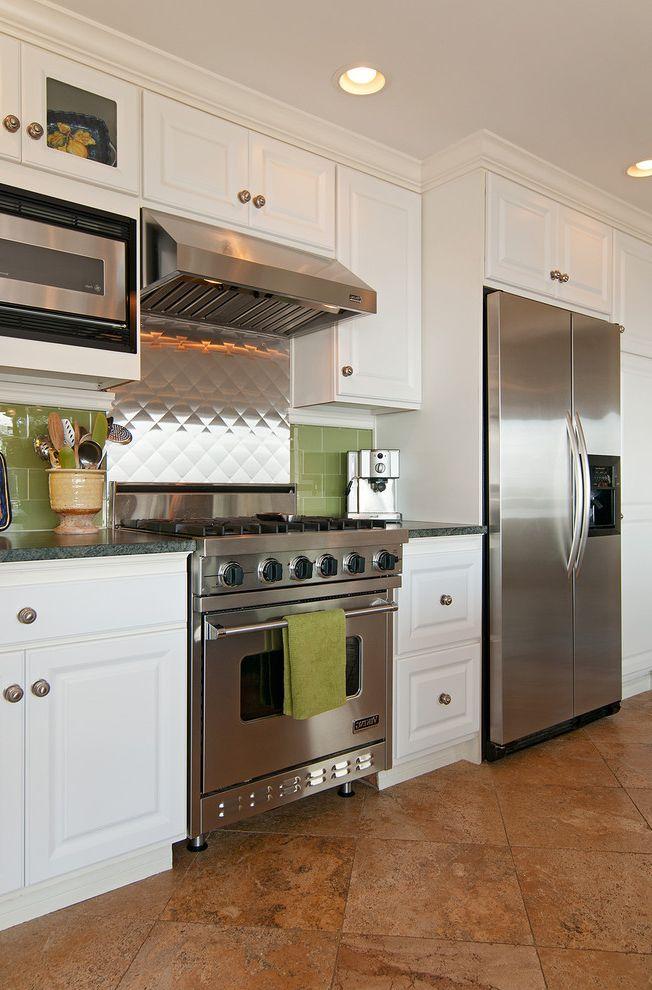 Smudge Proof Stainless Steel Refrigerator   Eclectic Kitchen Also Stainless Steel Stainless Steel Backsplash Tiled Backsplash Tiled Floor White Cabinet