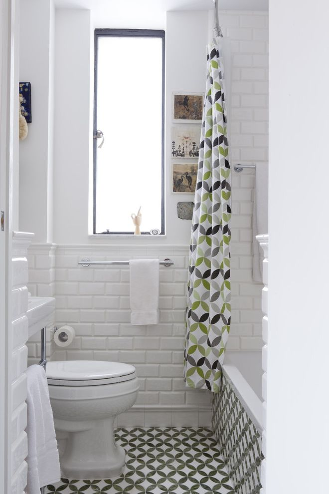 Tile Warehouse Near Me with Contemporary Bathroom  and Casement Window Console Sink Frosted Glass Geometric Print Fabric Shower Curtain Tall Window Tile Floor Tile Tub Surround White Tile Walls White Walls