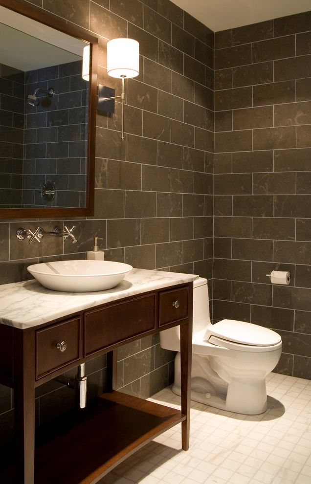 Toilet Flange Height with Contemporary Bathroom and Artwork