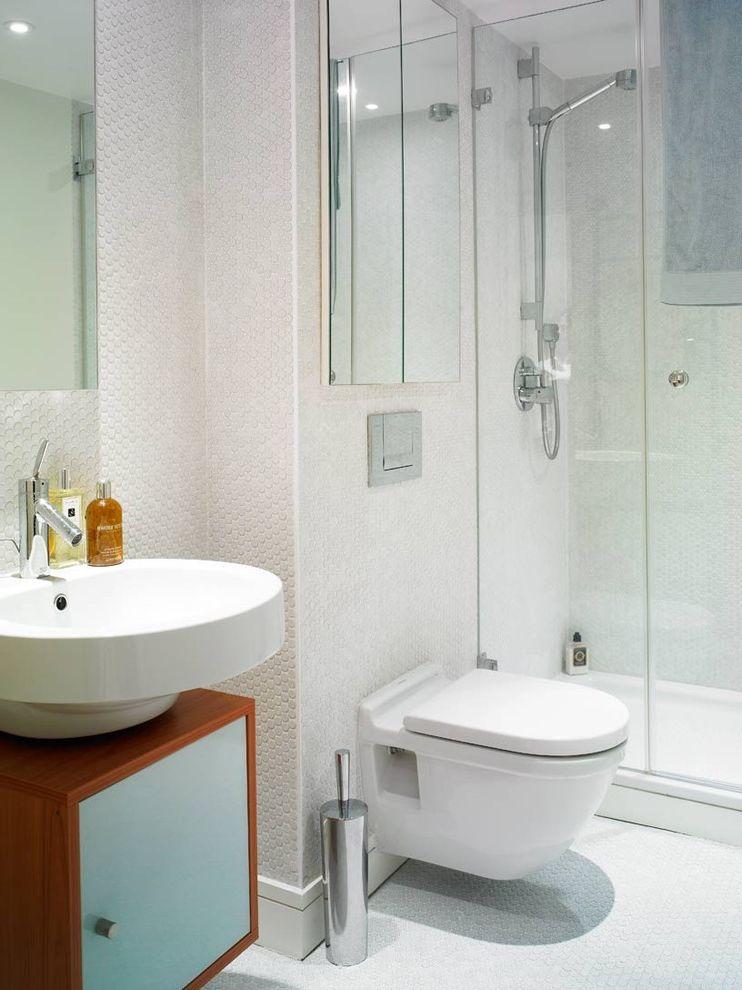 Toilet Flange Height   Modern Bathroom Also Bath Accessories Bathroom Mirror Glass Shower Penny Tiles Storage Tile Flooring Tile Wall Wall Mounted Sink Wall Mounted Toilet White Bathroom Wood Cabinets