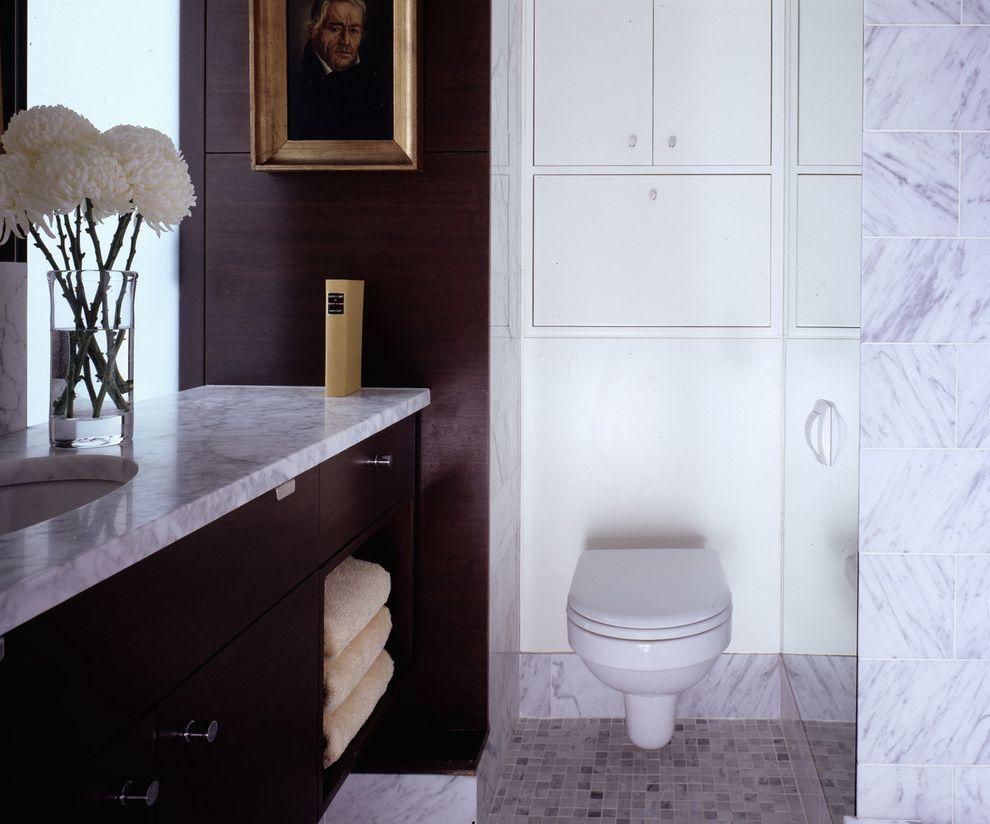 Toilet Flange Height with Contemporary Bathroom  and Artwork Bathroom Storage Bathroom Tile Dark Wood Cabinets Floor Tile Floral Arrangement Small Bathroom Towel Storage Wall Art Wall Decor Wall Mount Toilet