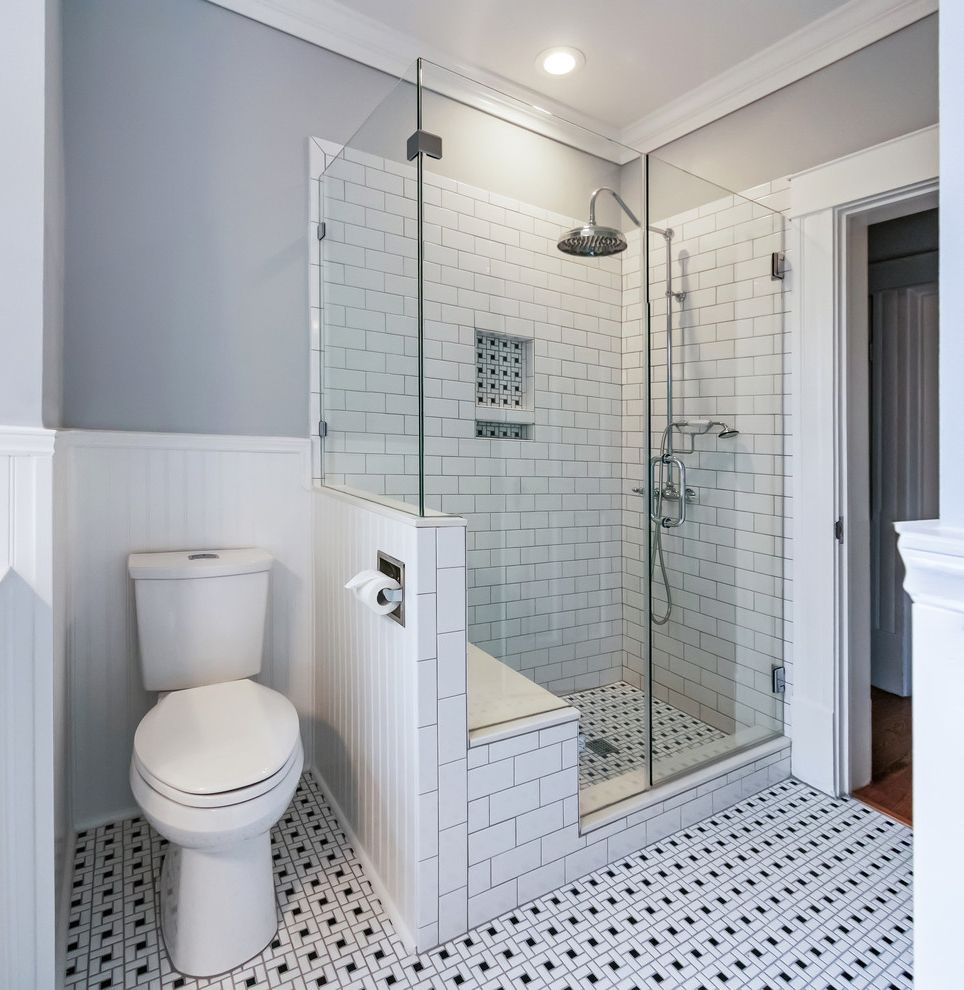 Toilet Flange Height with Transitional Bathroom  and Black and White Bathroom Contemporary Bathroom Grey Bathroom Houston Bathroom Remodeler Subway Tile Bathroom Transitional Bathroom Walk in Shower White Wainscoting