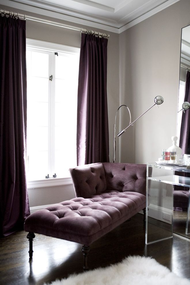 Tufted Sectional with Chaise with Contemporary Living Room Also Chaise Dark Wood Floors Drapes Glam Glamorous Hollywood Regency Lucite Purple Shag Silver Floor Lamp