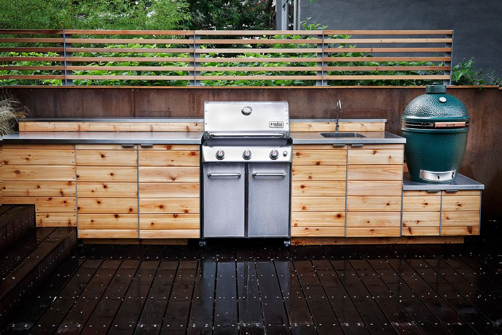 Weber Genesis 6511001 E 310   Contemporary Deck  and Big Green Egg Brooklyn Grill Industrial New York City Outdoor Kitchen Red Hook Stainless Counters Trellis