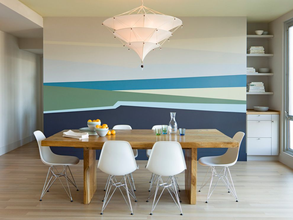 Wimsatt Building Supplies with Modern Dining Room Also Abstract Mural Built in Cabinet Cloth Chandelier Dining Room Eames Shell Chair Eiffel Base Fabric Chandelier Large Window Minimal Modern Wood Dining Table
