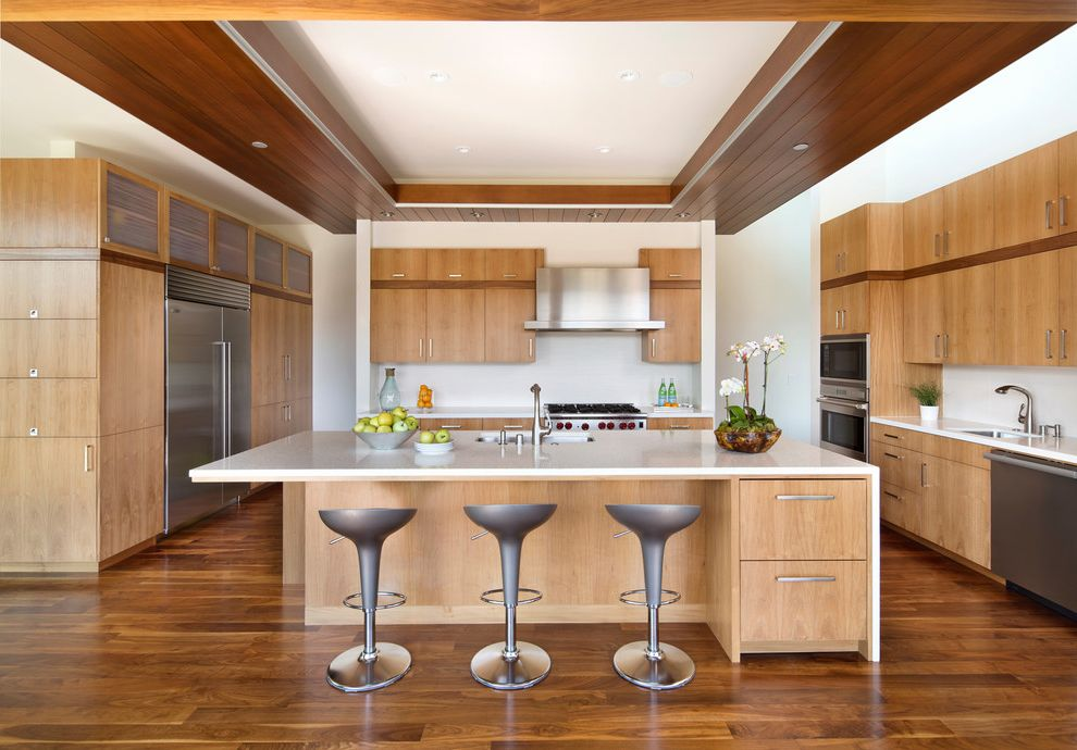 Aaa Antioch Ca   Contemporary Kitchen  and Adjustable Height Counter Stools Asymmetrical Island Dark Wood Accents Drop Down Ceiling Island Seating Large Idland Recessed Lighting Stainless Hood Swivel Counter Stool Two Sinks Wood Accents Wood Soffit