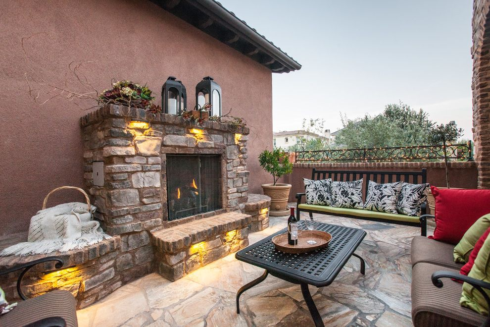 Aaa Antioch Ca   Mediterranean Patio Also Fireplace Hearth Masonry Metal Furniture Outdoor Living String Lights