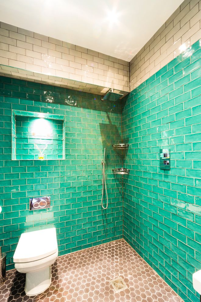 Annapolis Property Services   Contemporary Bathroom Also Bathroom Lighting Bathroom Shelf Bathroom Tiles Brown Floor Tiles Honeycomb Tiles Modern Wet Room Recessed Lighting Shower Alcove Turquoise Bathroom Turquoise Wet Room Wet Room Tiles