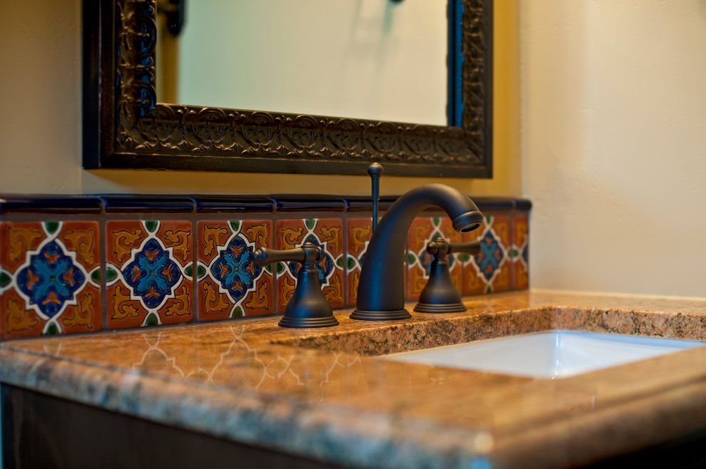 Annies Austin   Southwestern Bathroom Also Backsplash Bronze Decorative Mirror Detail Hacienda Mexican Mission Spanish Talavera Vanity