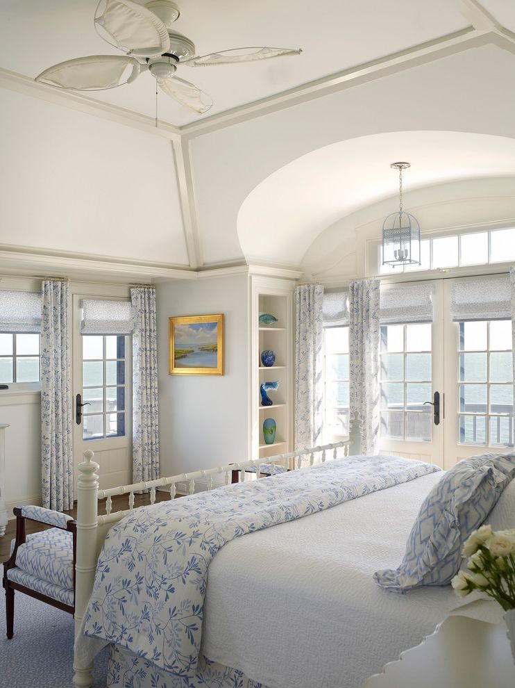 Annies Austin with Beach Style Bedroom  and Bedroom Bench Blue and White French Doors Master Bedroom Pendant Light Transom Window Tropical Ceiling Fan Vaulted Ceiling Waterfront White Wooden Bed