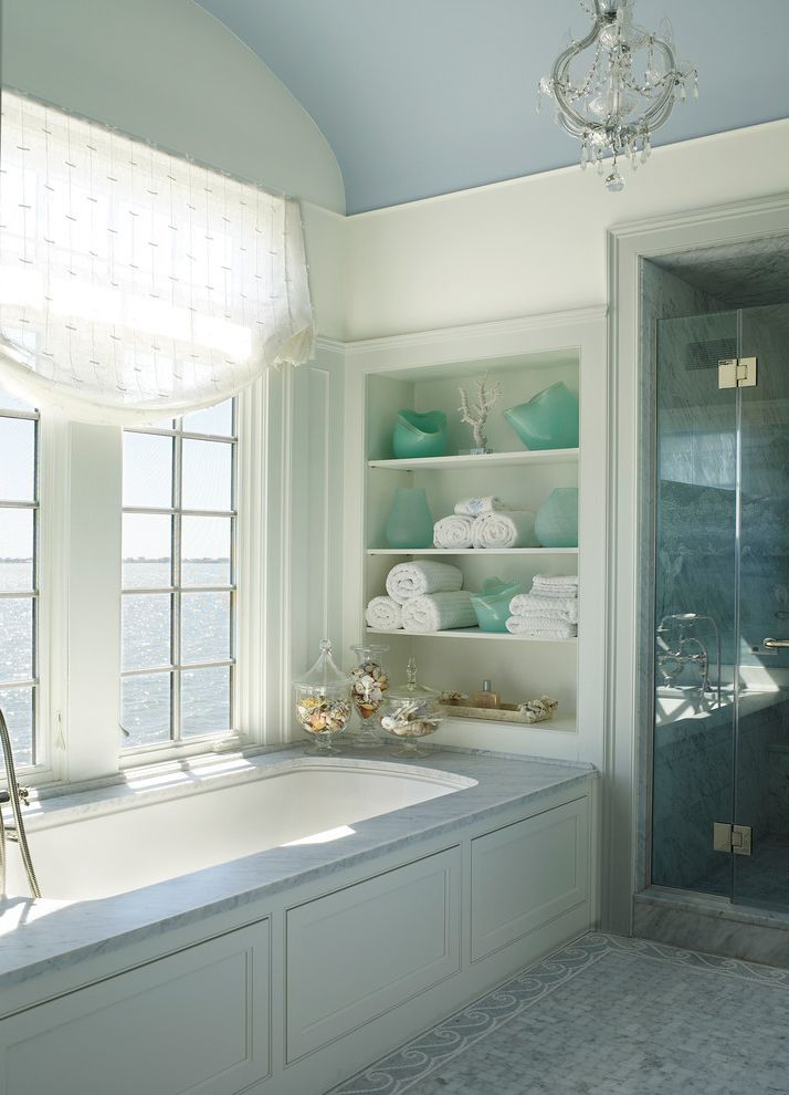 Bath Fitters Reviews   Beach Style Bathroom Also Blue and White Master Bathroom Roman Shade Turquoise Accents Waterfront