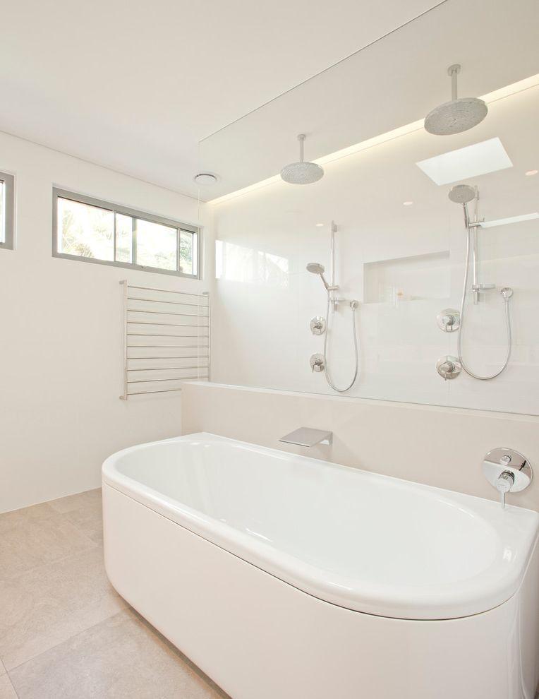 Bath Fitters Reviews   Contemporary Bathroom  and Curbless Shower Frameless Shower Glass Handshower Rainshower Head Recessed Shower Niche