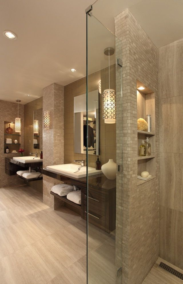 Bath Fitters Reviews   Contemporary Bathroom  and Double Sinks His and Hers Master Bathroom Mosaic Neutral Niche Pendant