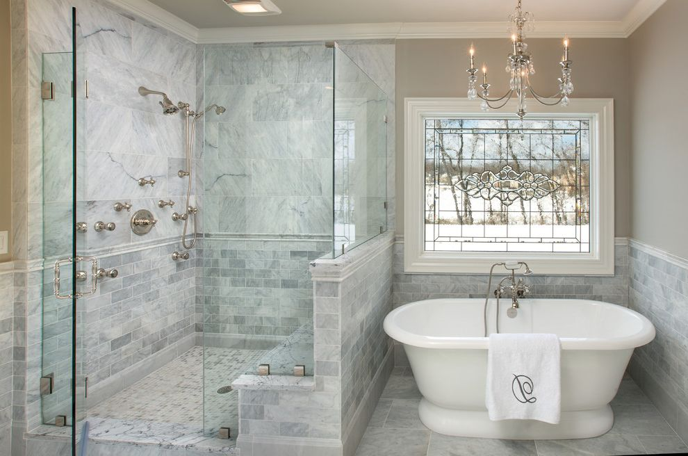 Bath Fitters Reviews   Traditional Bathroom  and Chair Rail Chandelier Frameless Shower Glass Leaded Glass Window Pony Wall Shower Bench