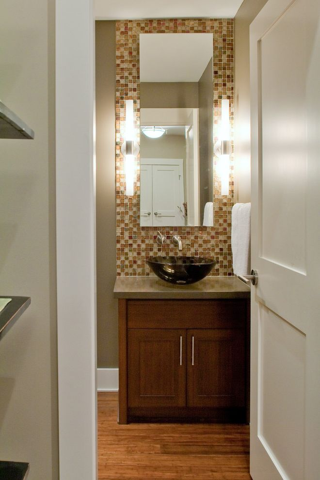 Bath Fitters Reviews with Contemporary Powder Room  and Bathroom Contemporary Sconces Greige Guest Bath Half Bath Modern Fixtures Multicolor Tiles Tile Accent Tiled Backsplash Vessel Sink Wood Floors Wood Vanity