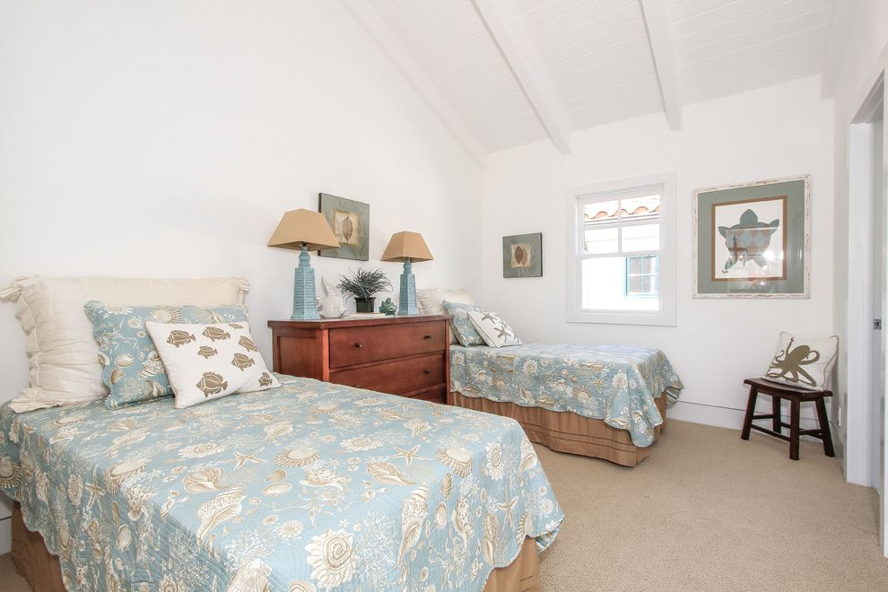 Beachy Bedding   Beach Style Bedroom Also Beach Color Scheme Beach Decor Beachy Beige Carpet Blue Bedding Dresser Fish Pillow Guest Bedroom Octopus Pillow Paneled Ceiling Seashell Bedding Shared Bedroom Tan Bedskirt Turtle Art Two Beds