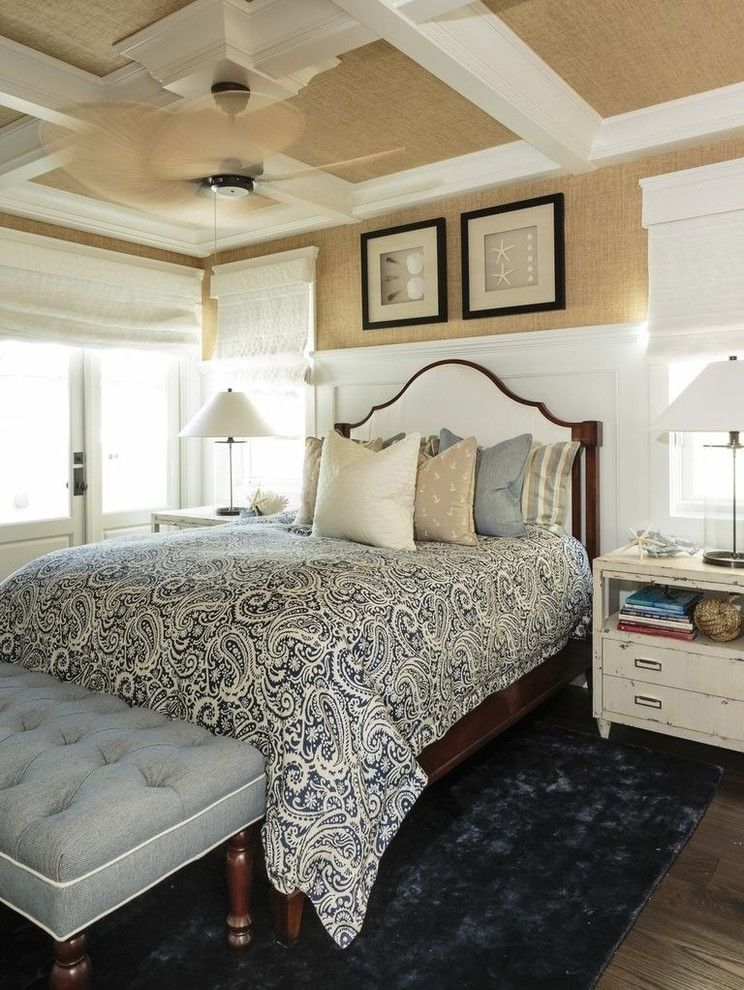 Beachy Bedding   Beach Style Bedroom  and Blue Area Rug Ceiling Fan Grasscloth Gray Bench Paisley Bedspread White Beams White Coffered Ceiling White Wainscoting