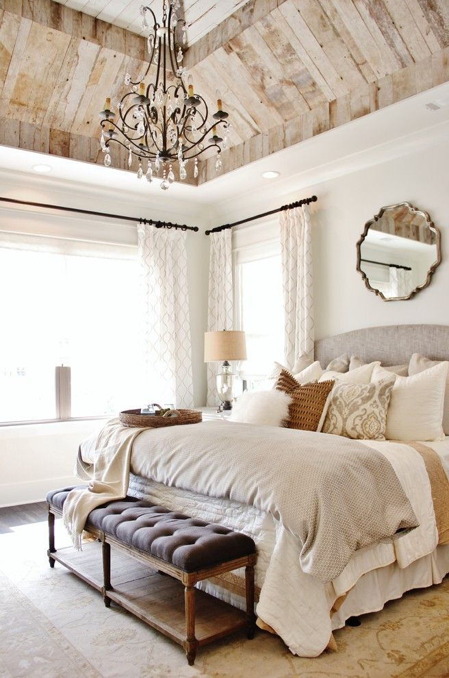 Beachy Bedding   Transitional Bedroom Also Barn Wood Bright Chandeliers Modern Farmhouse Reclaimed Wood Reclaimed Wood Trusses Rustic Modern Transitional Wood Ceiling