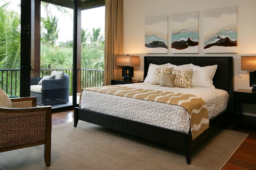 Beachy Bedding with Tropical Bedroom Also Balcony Black Bed Curtains Drapes French Doors Glass Doors Platform Beds Rattan Furniture Rattan Headboard Table Lamp Wall Art Wall Decor White Bedding Wicker Furniture Window Treatments Wood Flooring